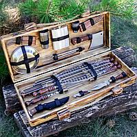 """Набор шампуров из нержавеющей стали, в деревянном кейсе ручной работы """"Ловчий"""""""