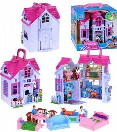 Двухэтажный игрушечный домик с фигурками и мебелью PL519- (F611), в коробке