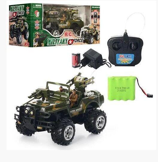 Джип военный на радиоуправлении HQ 3010 работает от аккумулятора, в комплекте два солдатика