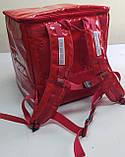 Терморюкзак для доставки еды и пиццы на молнии из ПВХ. Термосумка для доставки суши, пиццы, Молния. На каркасе, фото 2