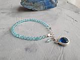 """Комплект серебряный: серьги и браслет """"Голубой топаз и фианит"""", фото 7"""