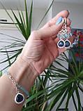 """Комплект серебряный: серьги и браслет """"Голубой топаз и фианит"""", фото 8"""