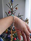 """Комплект серебряный: серьги и браслет """"Голубой топаз и фианит"""", фото 9"""