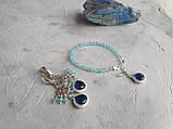 """Комплект серебряный: серьги и браслет """"Голубой топаз и фианит"""", фото 10"""