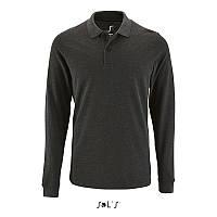 Чоловіча сорочка поло з довгим рукавом PERFECT LSL MEN (вугільний меланж, S)