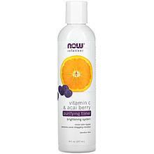 """Очищающий тоник NOW Foods, Solutions """"Purifying Toner"""" витамин С и ягоды асаи (237 мл)"""