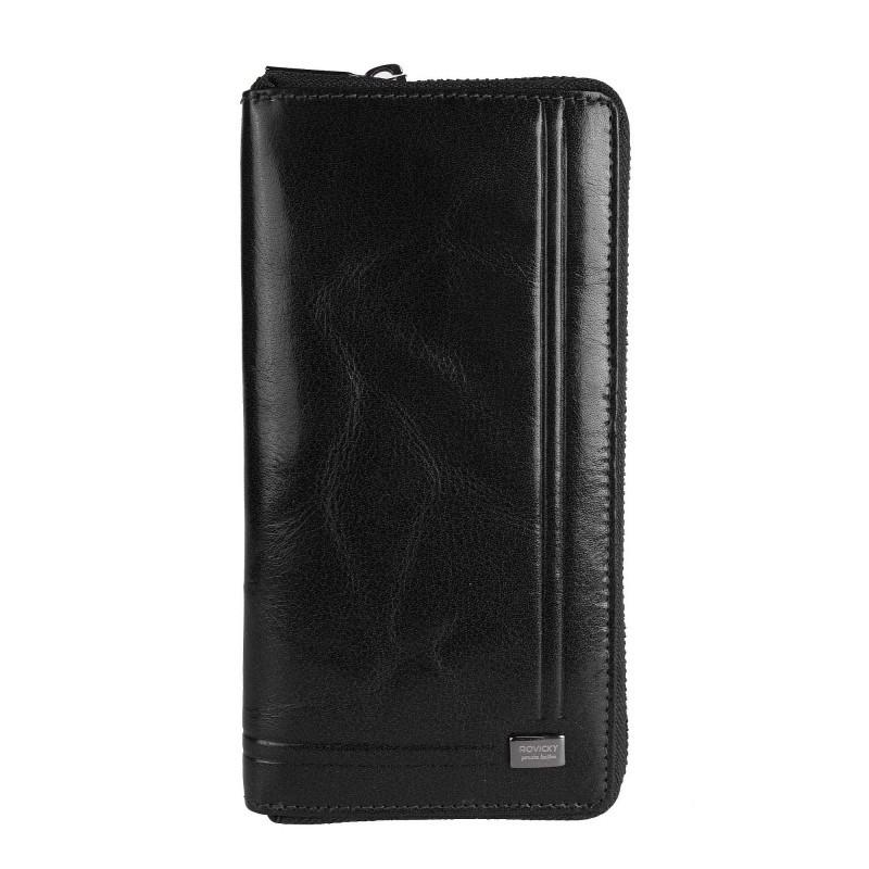 Кошелек мужской вертикальный кожаный на молнии черный Rovicky CPR-8794-BAR Black