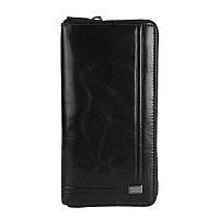 Кошелек мужской вертикальный кожаный на молнии черный Rovicky CPR-8794-BAR Black, фото 1
