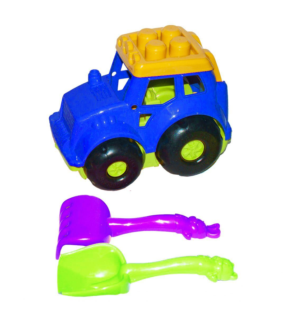 Трактор Кузнечик №1, синий (лопатка+грабли) 0206