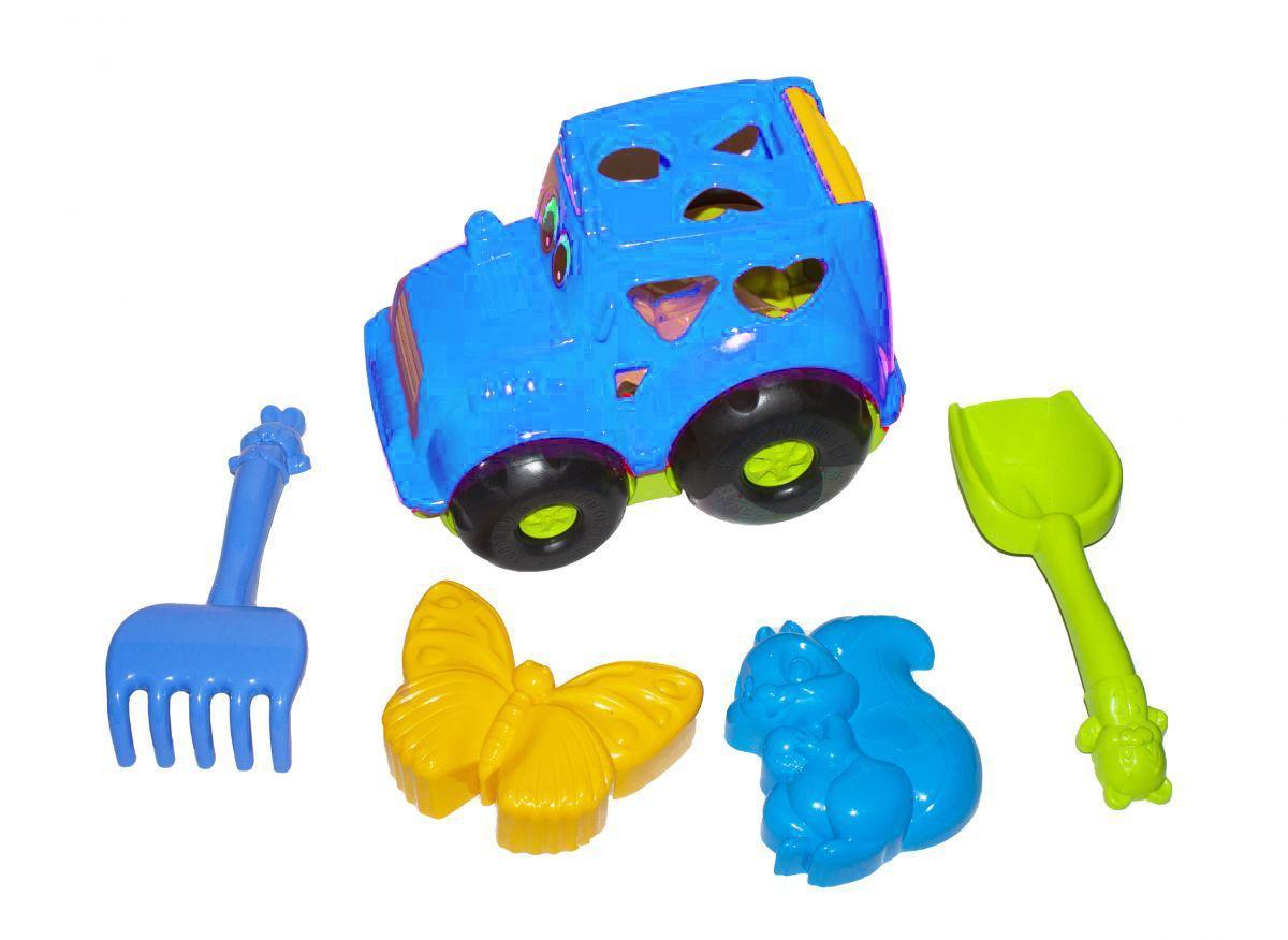 """Сортер-трактор """"Кузнечик"""" №2 (синий) с песочным набором 0336"""