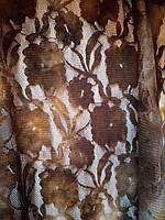 Бежевая ткань, коричневая тюль шторы (уценка, сток, распродажа склада 50% от цены! Николаев ) 15 метров*150 см