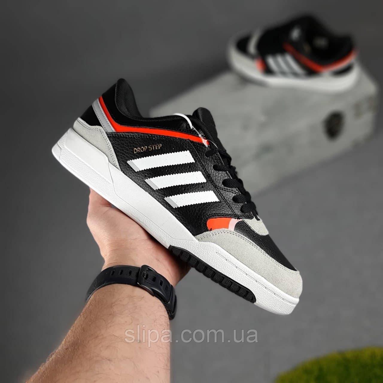 Мужские кожаные кроссовки в стиле Adidas DROP Step чёрные с белым