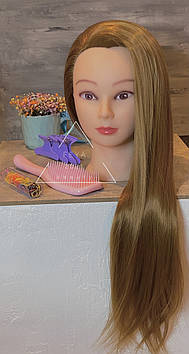 Набір голова навчальна для перукарів з гребінцем і резиночками