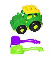 Трактор Кузнечик №1, зелёный  с граблями и лопаткой 0206