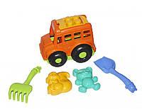 """Автобус """"Бусик"""" с песочным набором оранжевый 0091"""