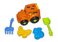"""Сортер-трактор """"Кузнечик"""" №2 (оранжевый) с песочным набором 0336"""