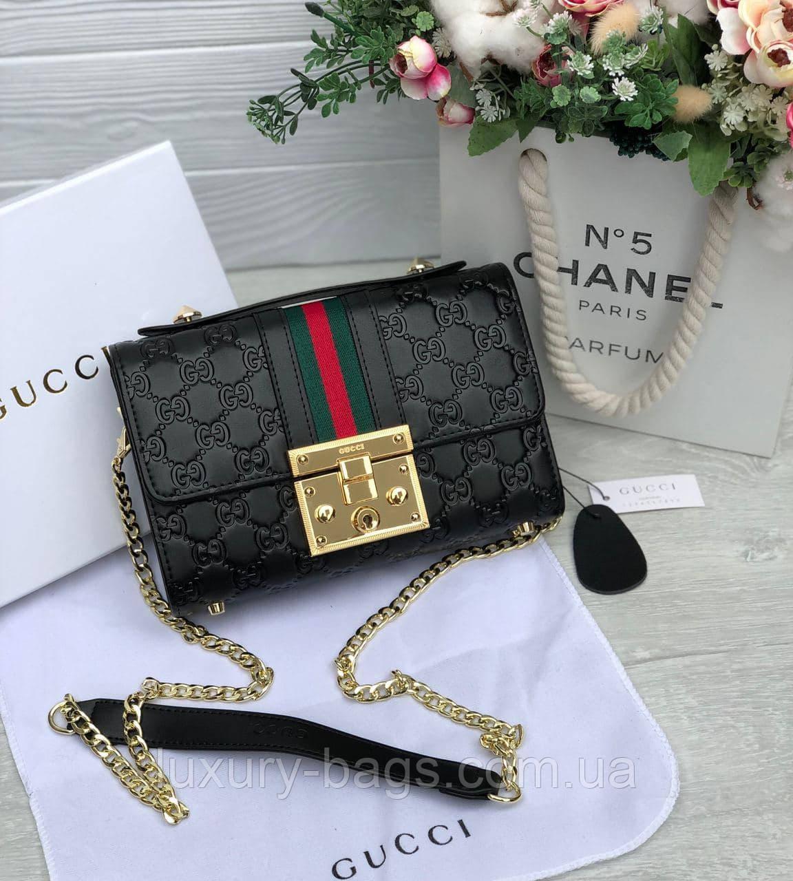 Женская кожаная сумка клатч Gucci Гуччи