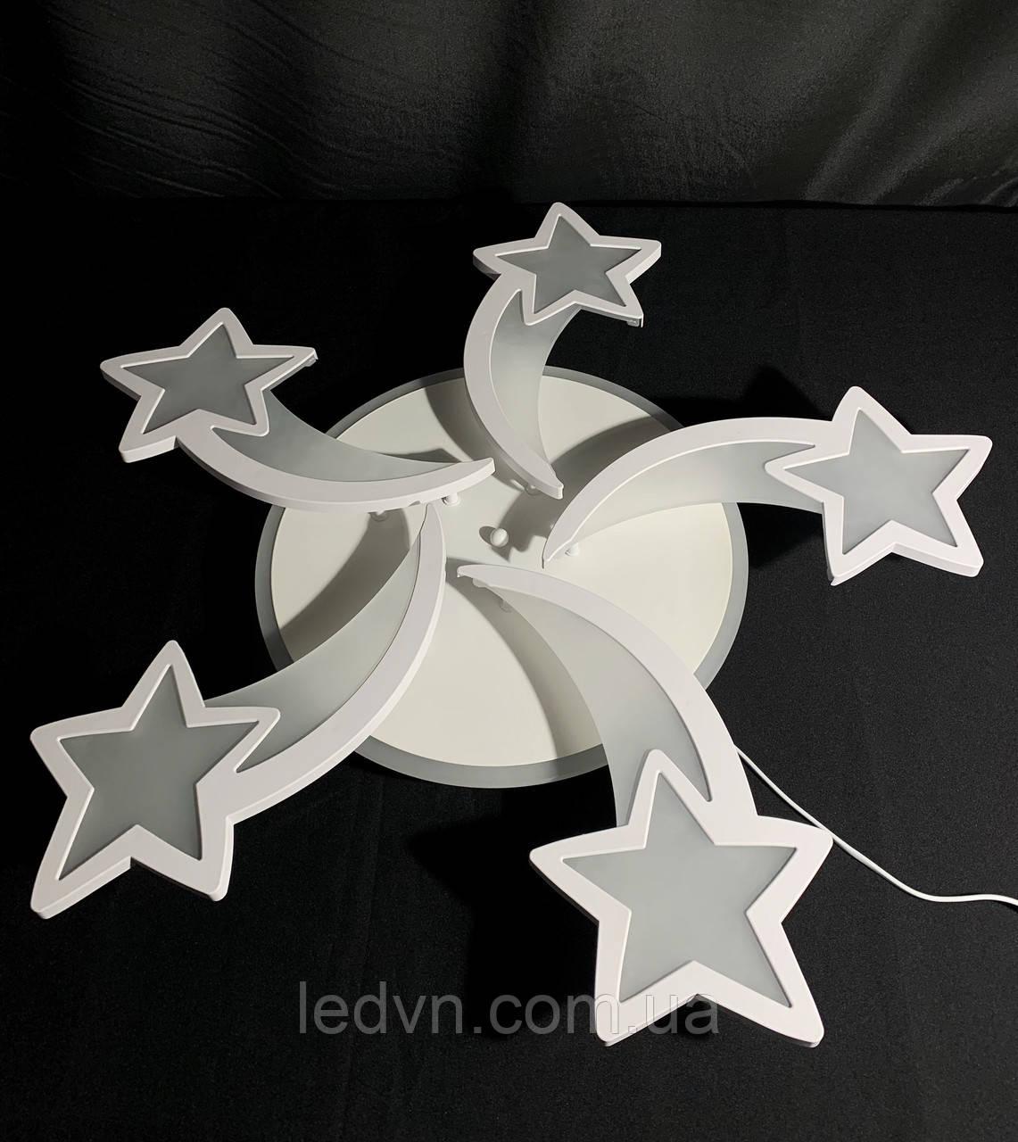 Светодиодная  детская люстра пять лепестков белая 105 ватт