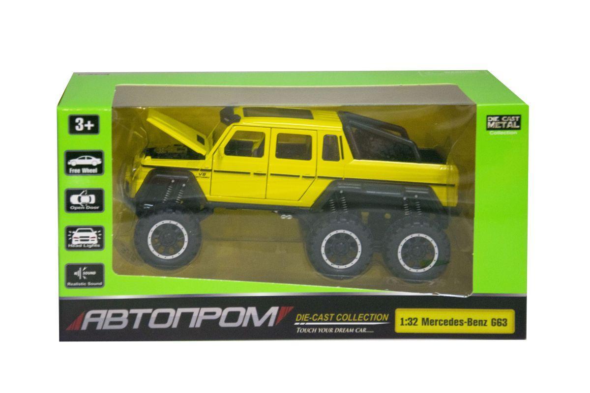 """Машинка """"Mercedes-Benz G63"""" из серии """"Автопром"""" (жёлтая) 7692"""