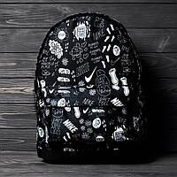 Спортивный городской Черный рюкзак с принтом Nike Для путешествий для школы тренировок портфель найк