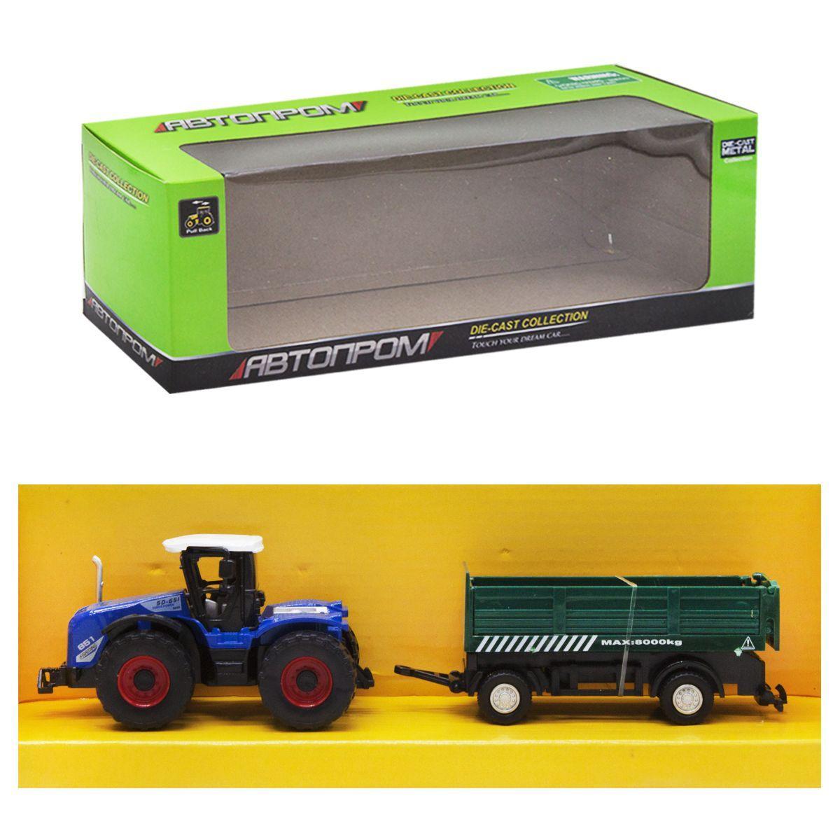 """Машинка """"Автопром. Трактор"""", (зеленый прицеп) 7786-2"""