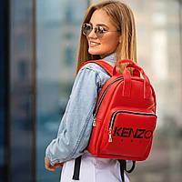Стильный кожаный женский рюкзак. Красный