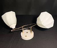 Припотолочная люстра на 2 лампы в белом цвете, фото 1
