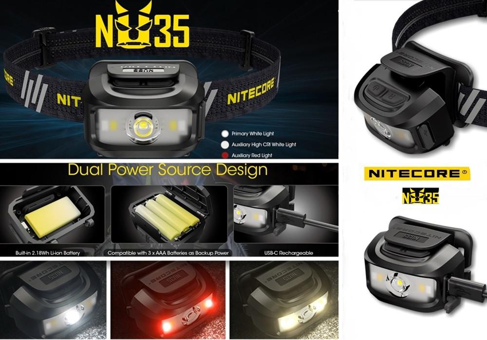 Налобный фонарь с универсальным питанием NITECORE NU35 (460LM / 10 режимов / 590 mAh+3*AAA / USB Type-С)