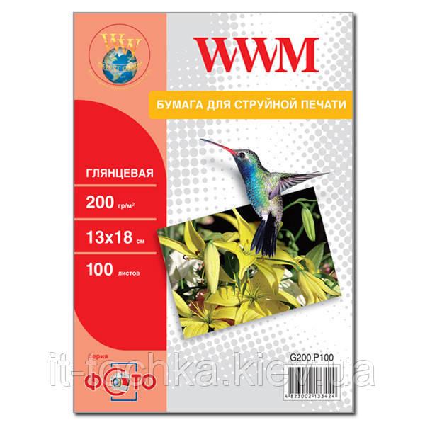Фотобумага wwm глянцевая 200г/м кв, 13см х 18см, 100л (g200.p100)