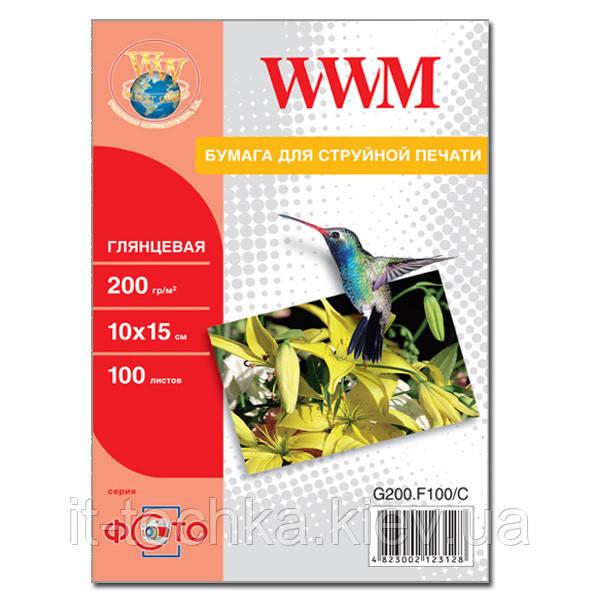 Фотобумага wwm глянцевая 200г/м кв, 10см x 15см, 100л (g200.f100/c)