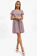 Платье женское, летнее в полоску, пудровое с белым 112R495