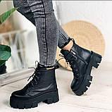 Женские ботинки ДЕМИ черные на шнурках натуральная кожа, фото 10