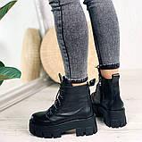 Женские ботинки ДЕМИ черные на шнурках натуральная кожа, фото 9