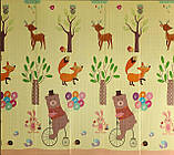"""Детский складной развивающий термо коврик """"Мишка на велосипеде + Ростомер"""", фото 2"""