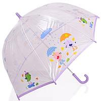 Зонт-трость детский прозрачный механический облегченный ZEST