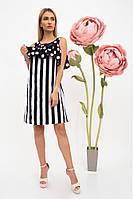 Стильное, летнее, платье женское, комбинированная расцветка, черно-белое 104R0004