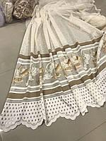 Готовая турецкая тюль жаккард высотой 2 м. цвет белый молочный (обработка сторон + 40 грн)