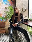 Женские кожаные брюки на резинке, фото 2