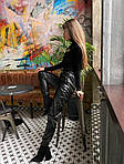 Женские кожаные брюки на резинке, фото 3