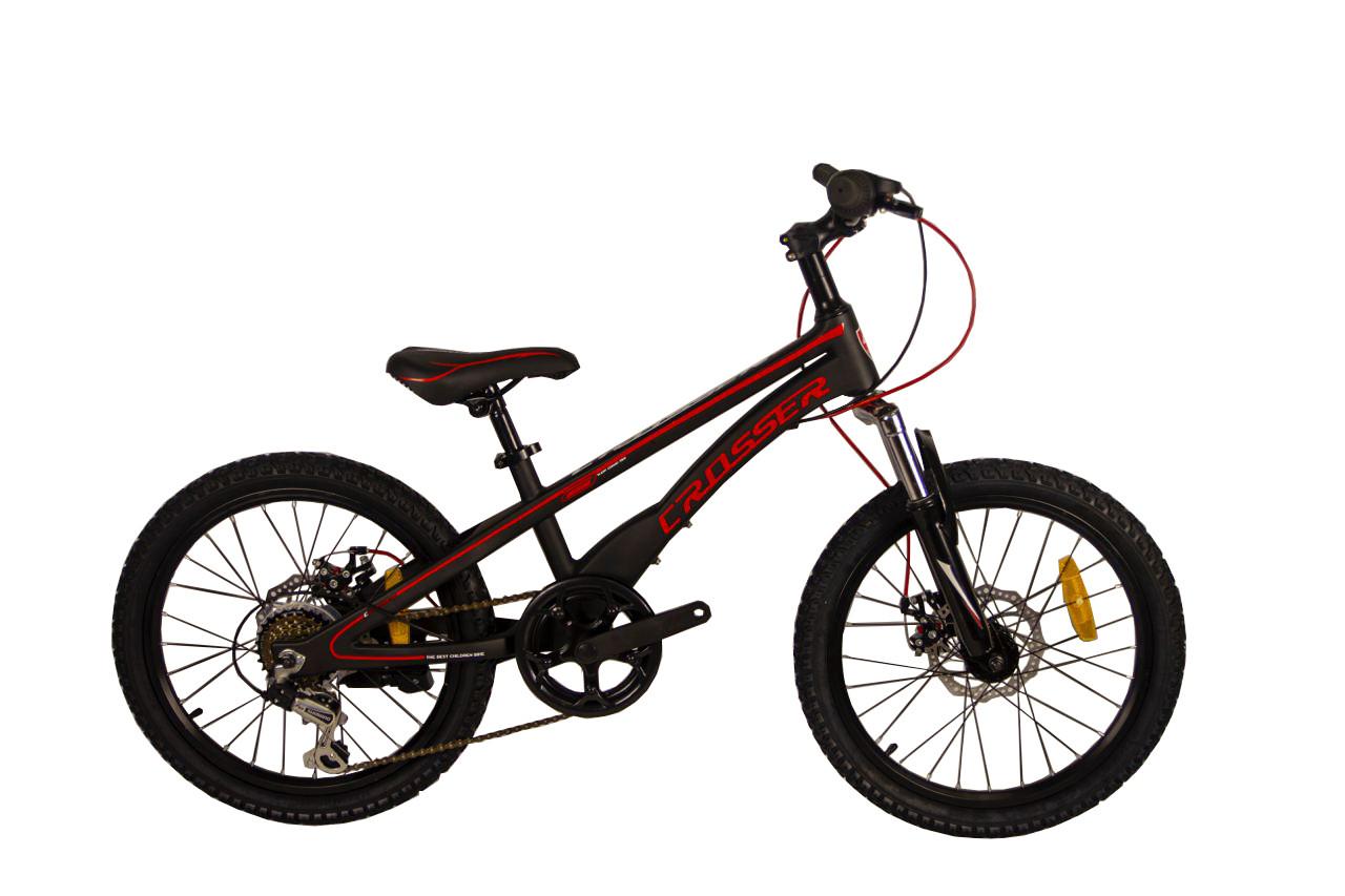 """Детский велосипед Crosser 6S R20"""" с дисковыми тормозами (Черно-красный)"""