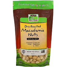 "Жареные орехи макадамии NOW Foods, Real Food ""Dry Roasted Macadamia Nuts"" с солью (255 г)"