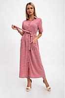 Платье-рубашка женское, длинное с карманами и поясом, пудровое 115R3731