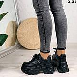 Стильные кроссовки женские черные на платформе 8 см эко-кожа, фото 2