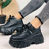Стильные кроссовки женские черные на платформе 8 см эко-кожа, фото 6