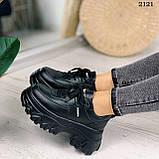 Стильные кроссовки женские черные на платформе 8 см эко-кожа, фото 5