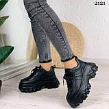 Стильные кроссовки женские черные на платформе 8 см эко-кожа, фото 4