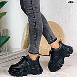 Стильные кроссовки женские черные на платформе 8 см эко-кожа, фото 7