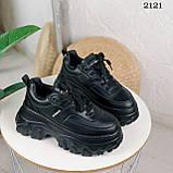 Стильные кроссовки женские черные на платформе 8 см эко-кожа, фото 9