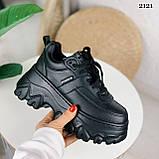 Стильные кроссовки женские черные на платформе 8 см эко-кожа, фото 8