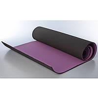 Коврик для йоги, фитнеса, спорта Profi 183х61 см, 6 мм фиолетово-черный
